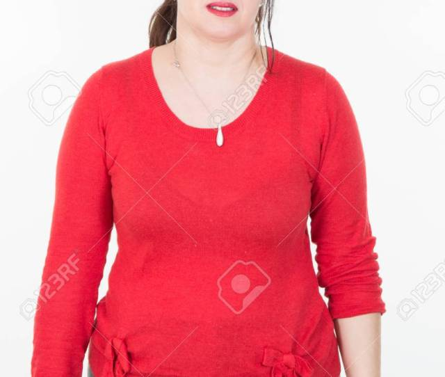 Forties Woman In Red And Black Clothes Large Fat Big Girl Stock Photo