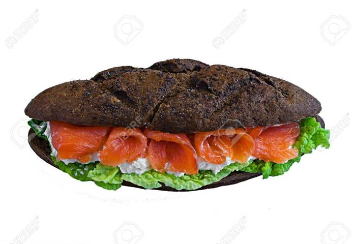 Sandwich Whis Fish And Black Bread Stock Photo Picture And Royalty
