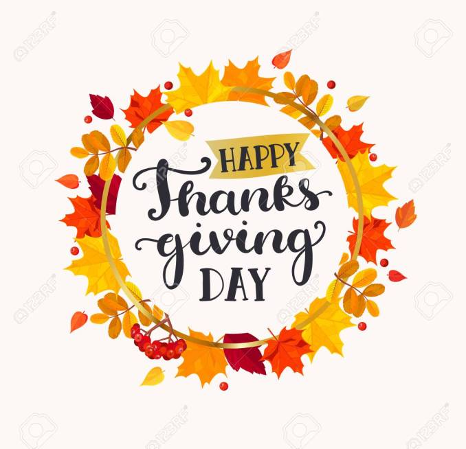 Happy Thanksgiving Day Lettering In Frame From Autumn Leaves... Royalty  Free Cliparts, Vectors, And Stock Illustration. Image 86140302.