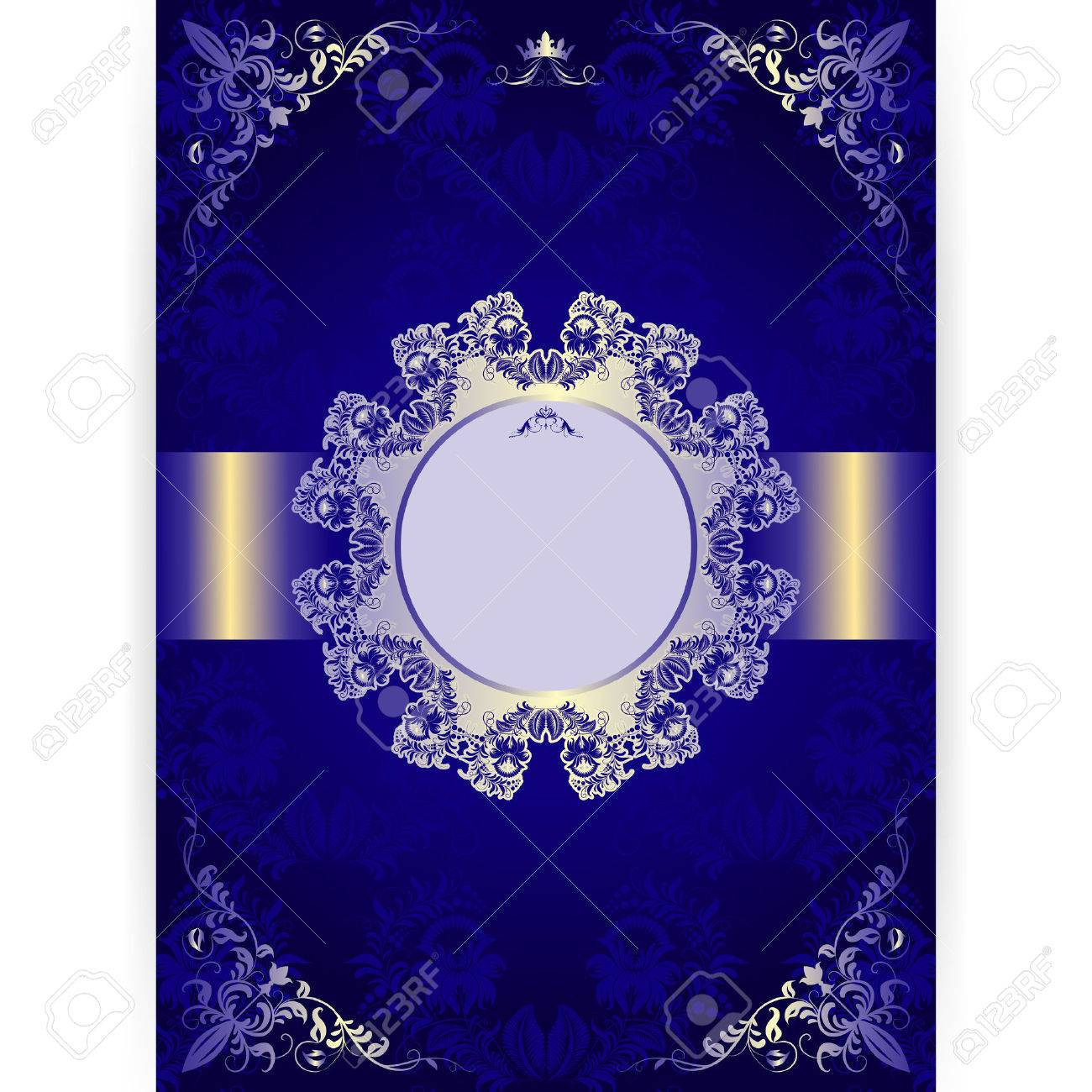 vector royal invitation card in an old style on seamless background