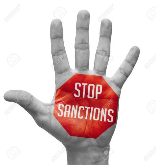 Stop Sanctions - Red Sign Painted On Open Hand Raised, Isolated ...