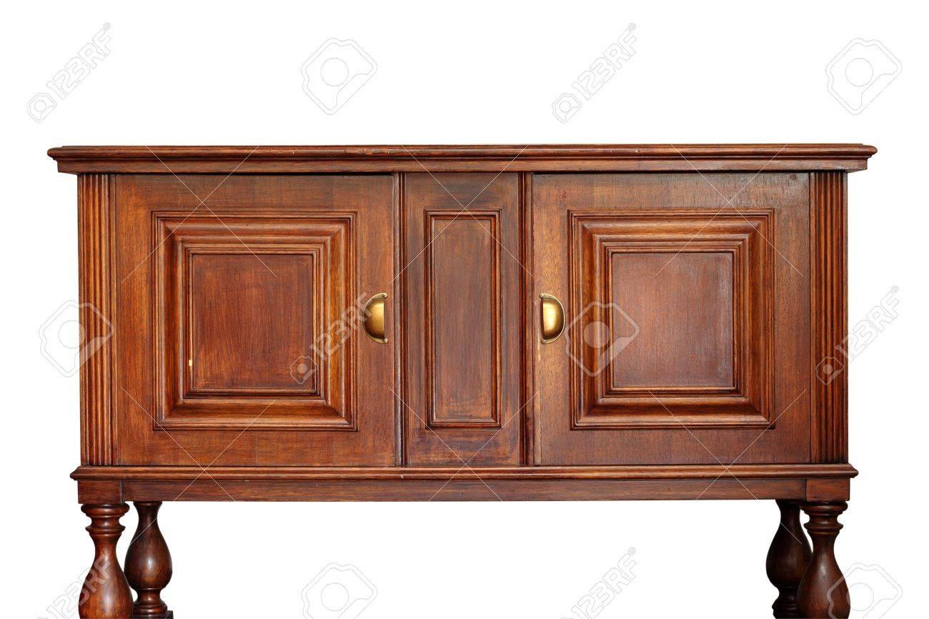 tres vieux meubles en bois rare isole sur fond blanc