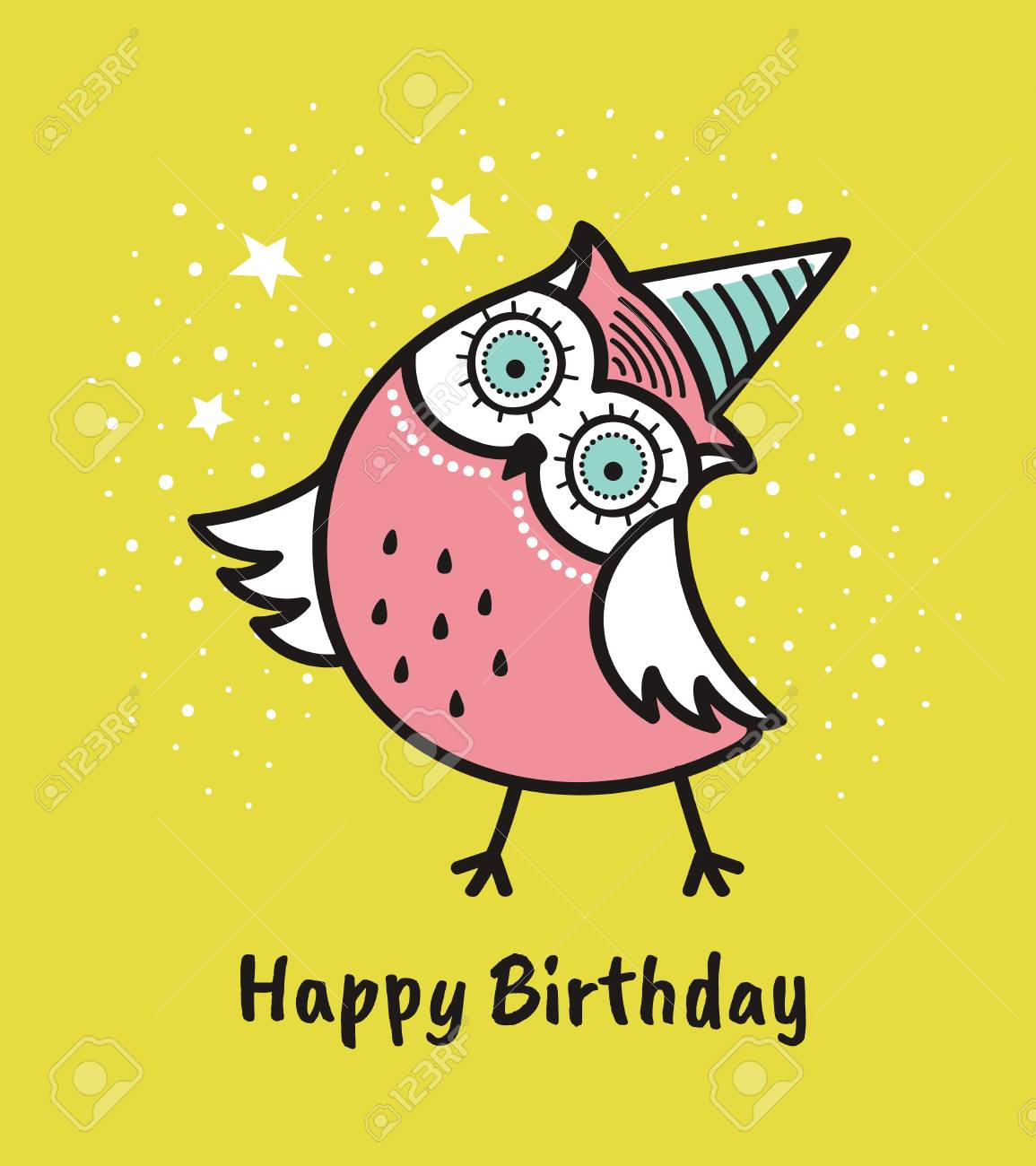 Cute Hand Drawn Owl With Quote Happy Birthday Greeting Card Royalty Free Cliparts Vectors And Stock Illustration Image 92876139