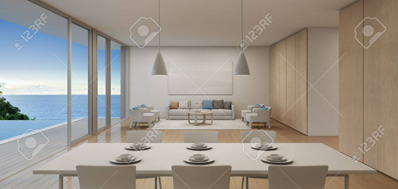 Dining And Living Room Of Luxury Beach House With Sea View Swimming
