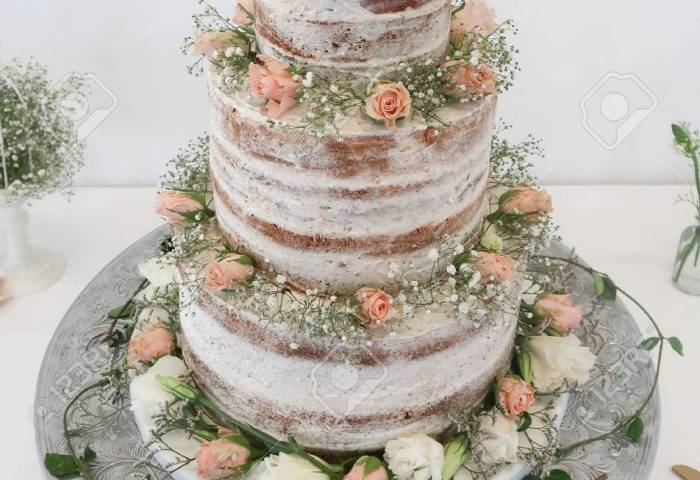 Amazing 3 Tier Wedding Cake With Flowers Stock Photo Picture And