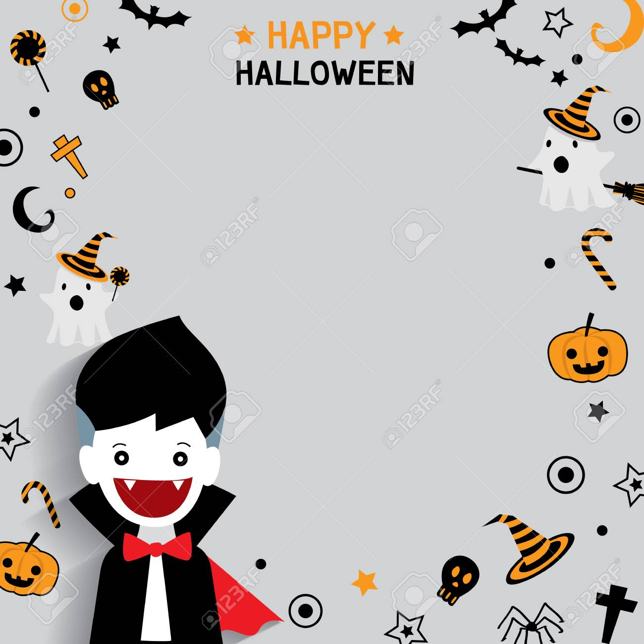 cute litlte vampire with happy halloween background ornament