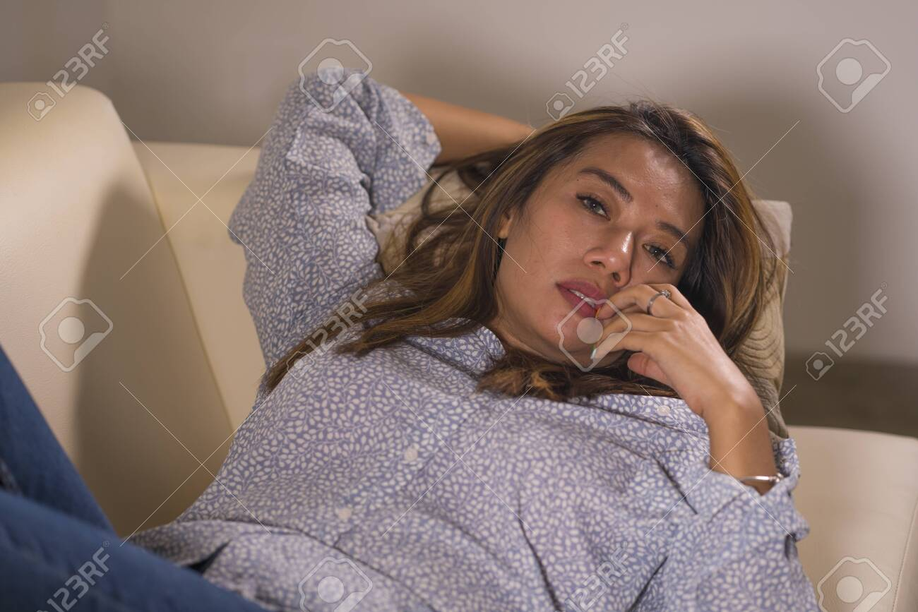 Dramatic Lifestyle Portrait Of Young Beautiful Sad And Depressed.. Stock  Photo, Picture And Royalty Free Image. Image 128301363.
