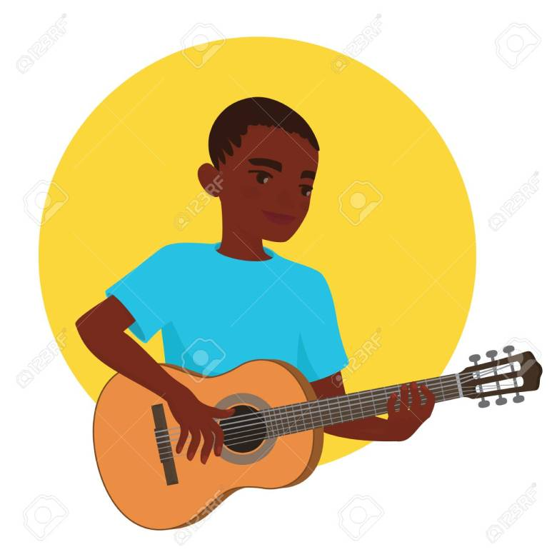 musician playing guitar. african boy guitarist is inspired to
