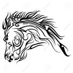 Vector Line Art Horse Head Tattoo Sketch Isolated On White Background Royalty Free Cliparts Vectors And Stock Illustration Image 80110468