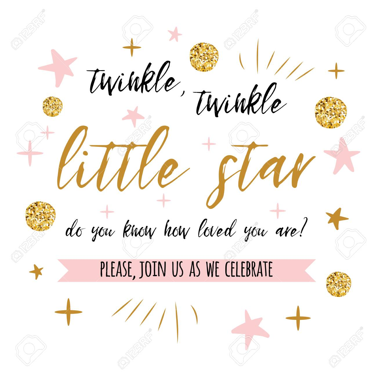 twinkle twinkle little star text with gold polka dot and pink