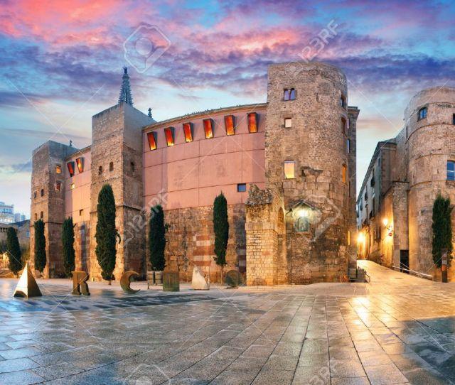 Panorama Of Ancient Roman Gate And Placa Nova Barri Gothic Quarter Barcelona Spain