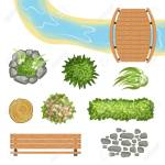 Colorful Set Of Landscape Elements Wooden Bridge And Bench Royalty Free Cliparts Vectors And Stock Illustration Image 99214077