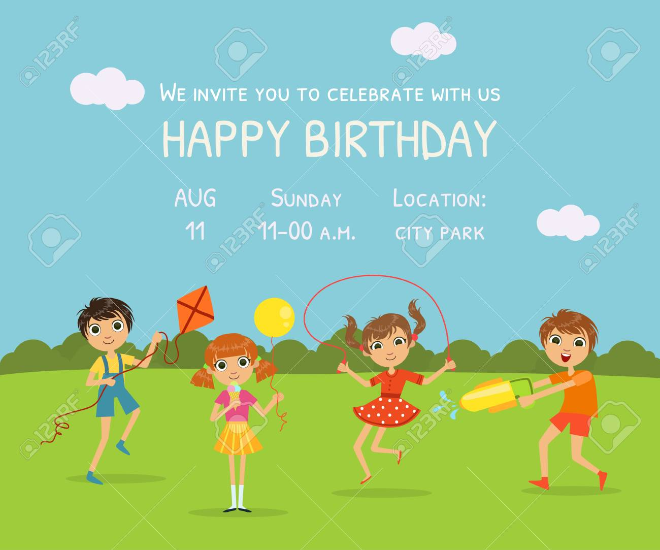 happy birthday invitation card with cute little kids in nature