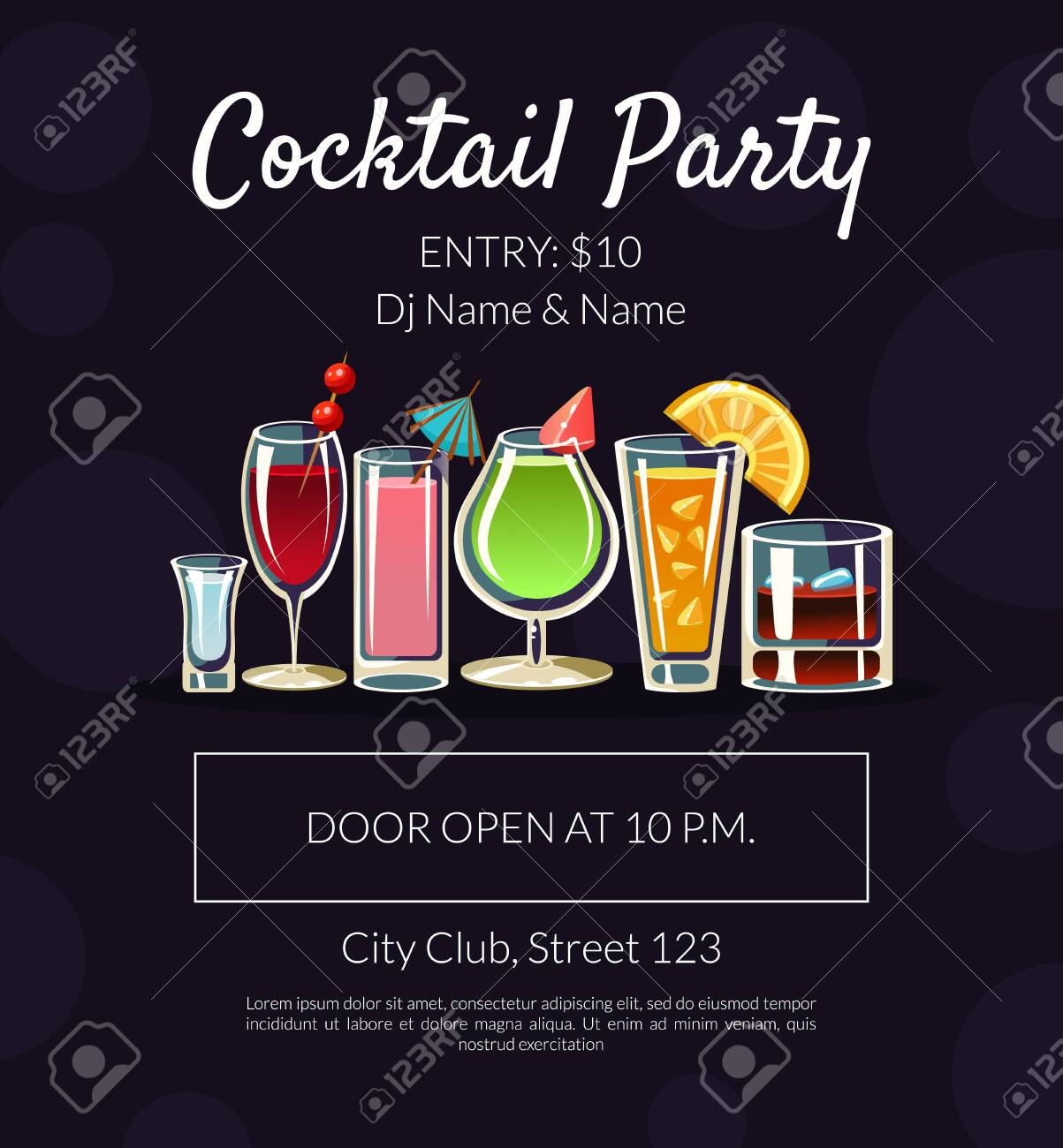 cocktail party banner template with place for text bar restaurant