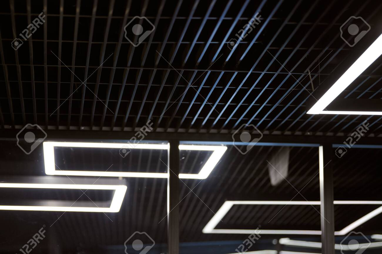 modern office lighting thin lamps in office dark ceiling led stock photo picture and royalty free image image 132679955