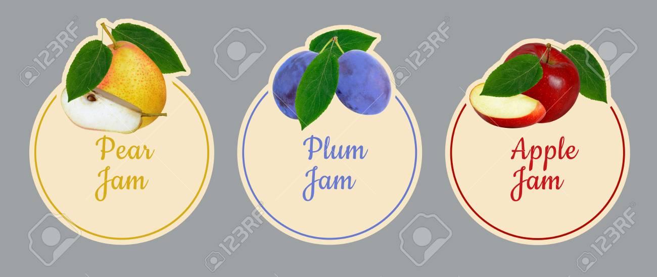 set d etiquettes pour la confiture de fruits poire prune ensemble des pommes
