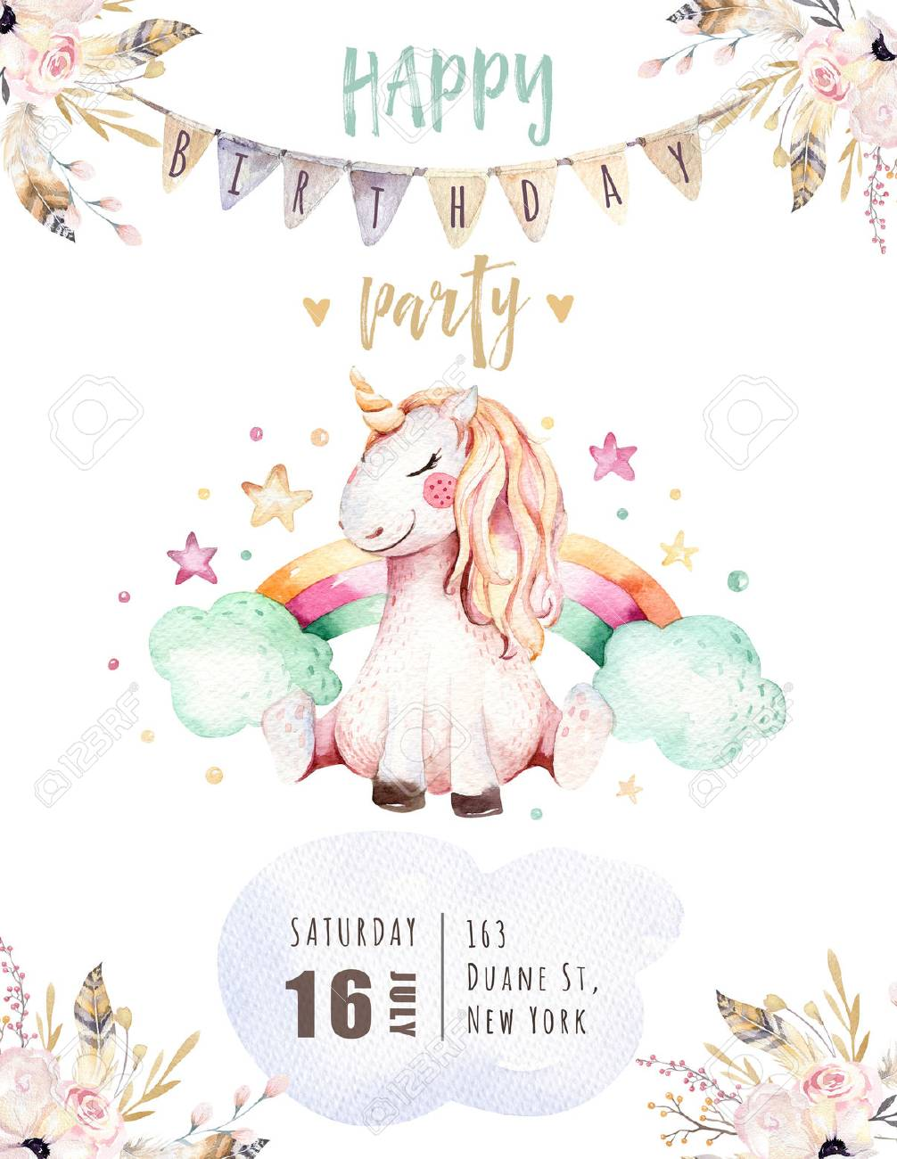 isole mignon aquarelle licorne carte de l 39 invitation licornes de princesse illustration licornes arc de main hippie rose signe de fauteuil