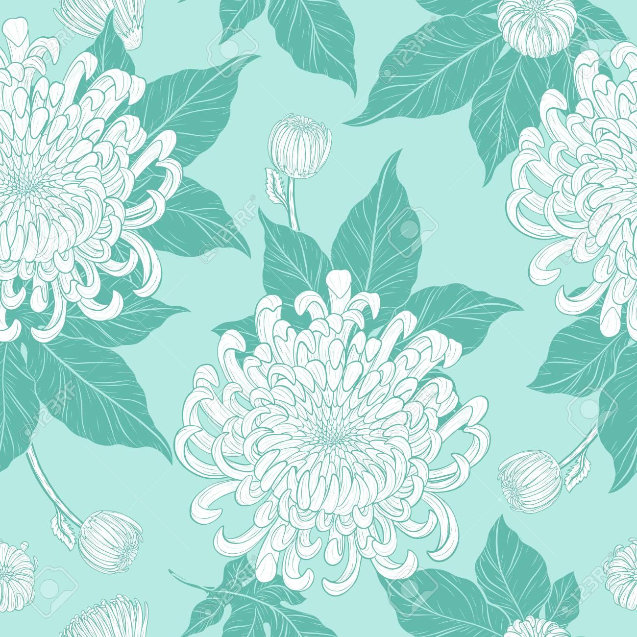 motif de chrysantheme sur fond vintage fond d ecran fleur a la main dessin papillon avec vecteur de papier peint fleur vintage