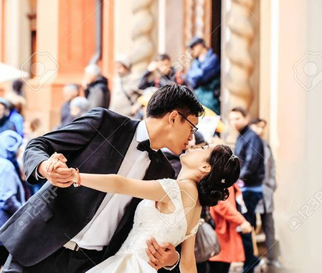 Chinese Groom Handsome Man And Pretty Bride Girl Young Cute Sexy Woman In White Wedding Dress