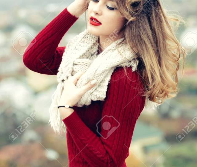 Stock Photo Young Pretty Sexy Woman Or Girl With Cute Face And Long Blond Hair Has Red Lipstick On Lips In Dress And Scarf Outdoor On Blurred Or Defocused