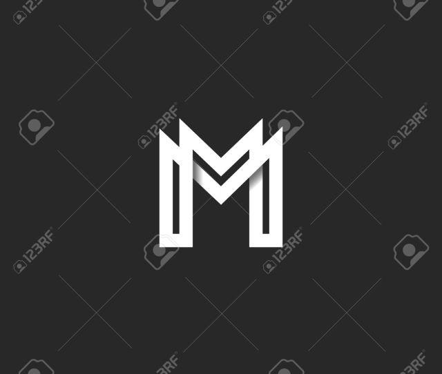 Letter M Logo Monogram Overlapping Line Mark Mm Initials Combination Symbol Mockup Black And