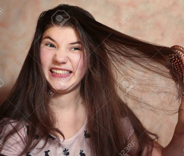 Beautiful Teen Girl Try Comb Her Long Dark Thick Hair Stock Photo 66717284