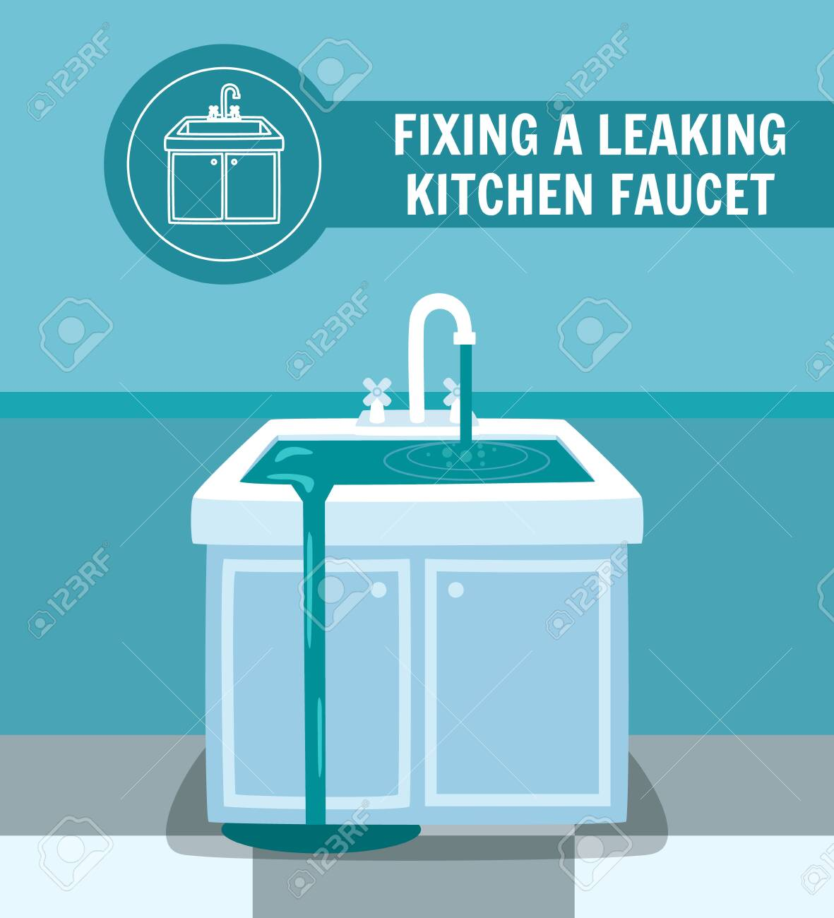fixing leaking kitchen faucet banner water overflow washstand