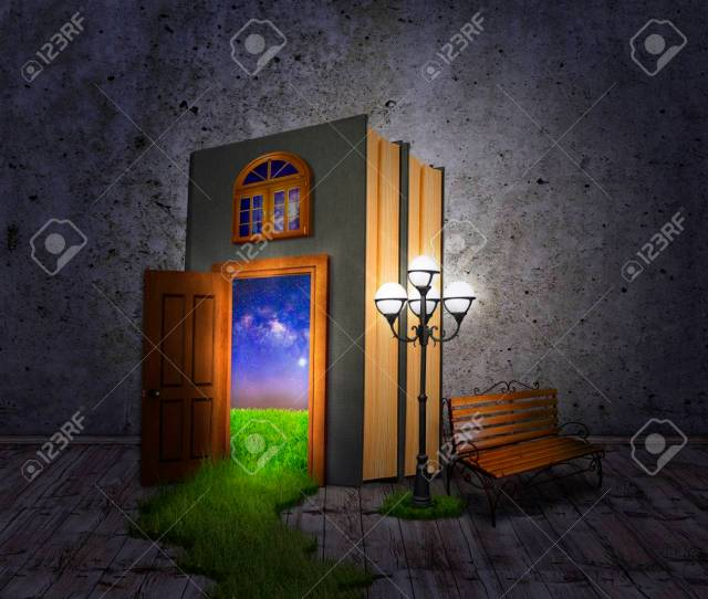 Concept Book A Lantern And A Bench With A Door To