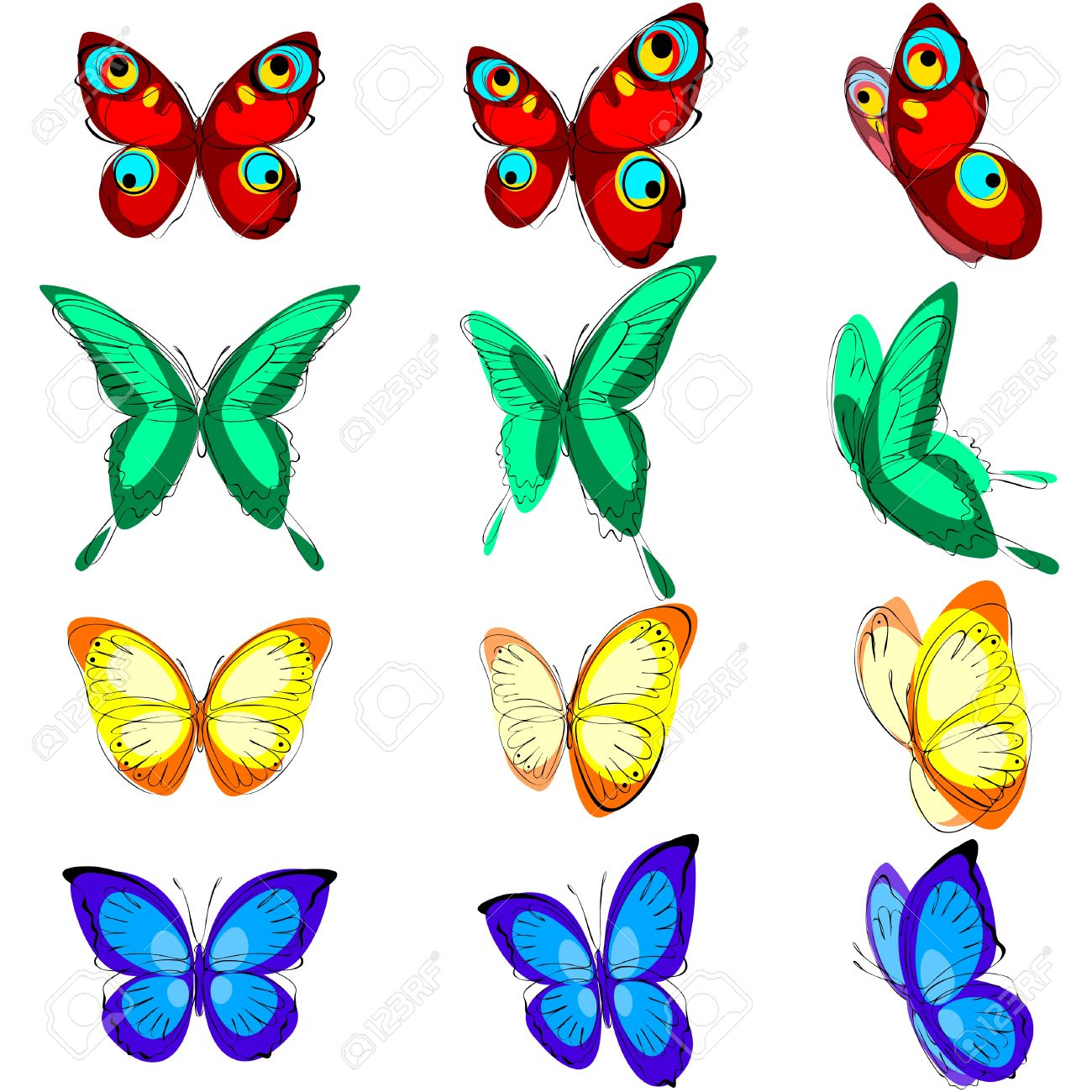 a set of different butterflies various types color options