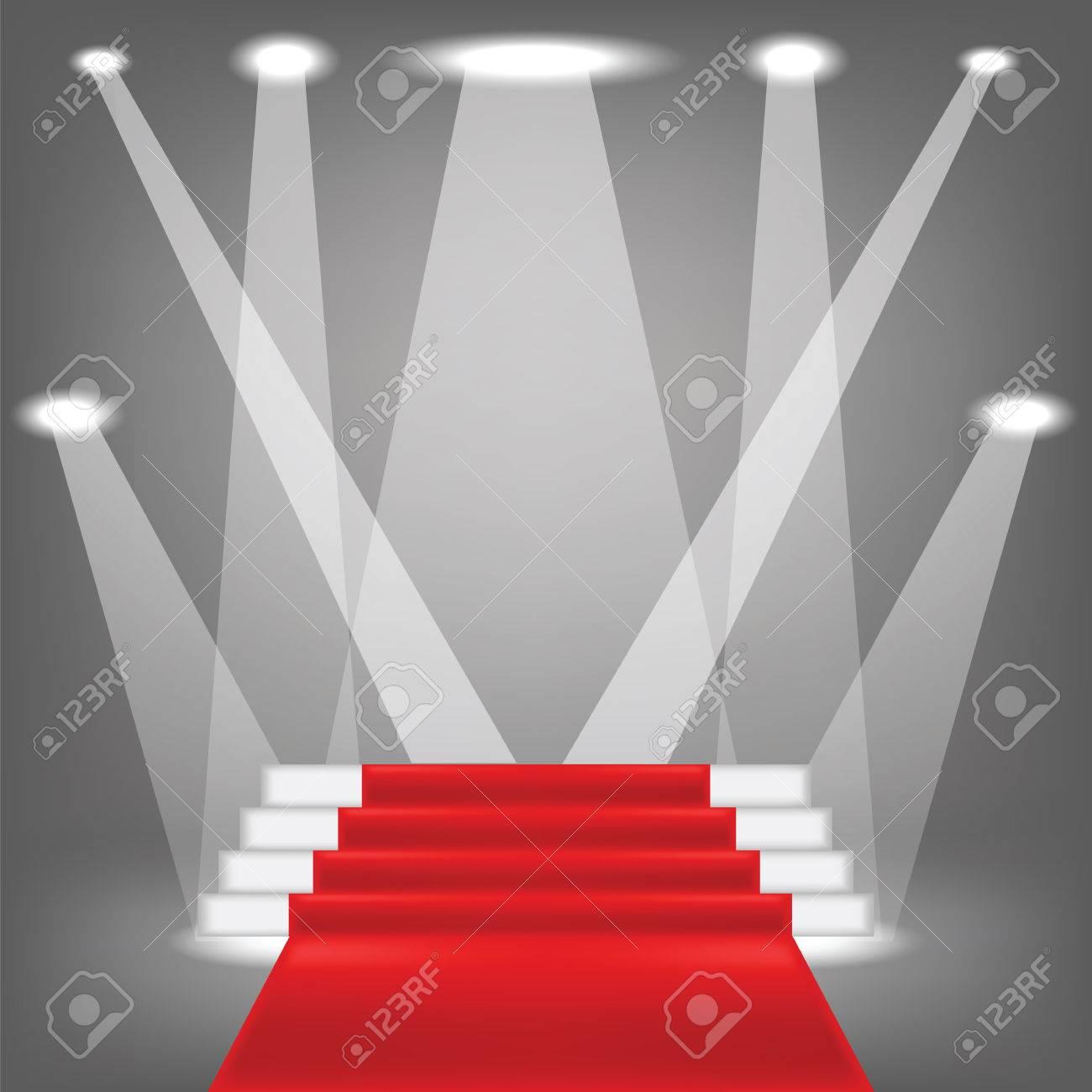 illustration coloree avec tapis rouge sur fond gris