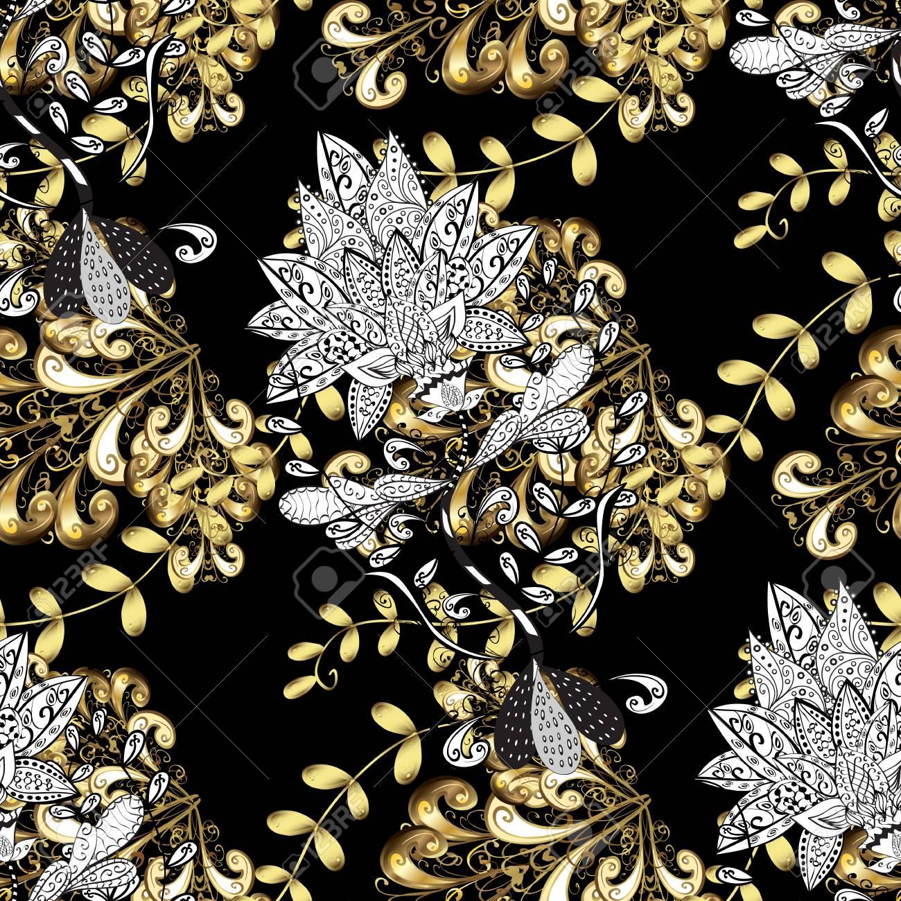 lement d or sur fond noir croquis d or sur fond de texture ornement floral noir or en style baroque fond d ecran repetitif en forme de motif
