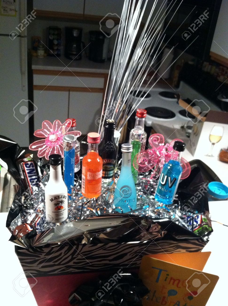 21st Birthday Gift Basket With Alcohol Bottles Stock Photo Picture And Royalty Free Image Image 21832352