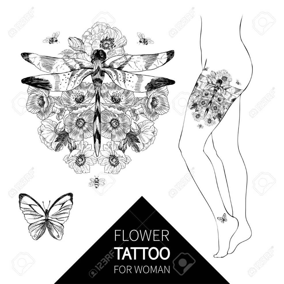 Blackwork Tattoo Flash Vector Illustration Isolated On White