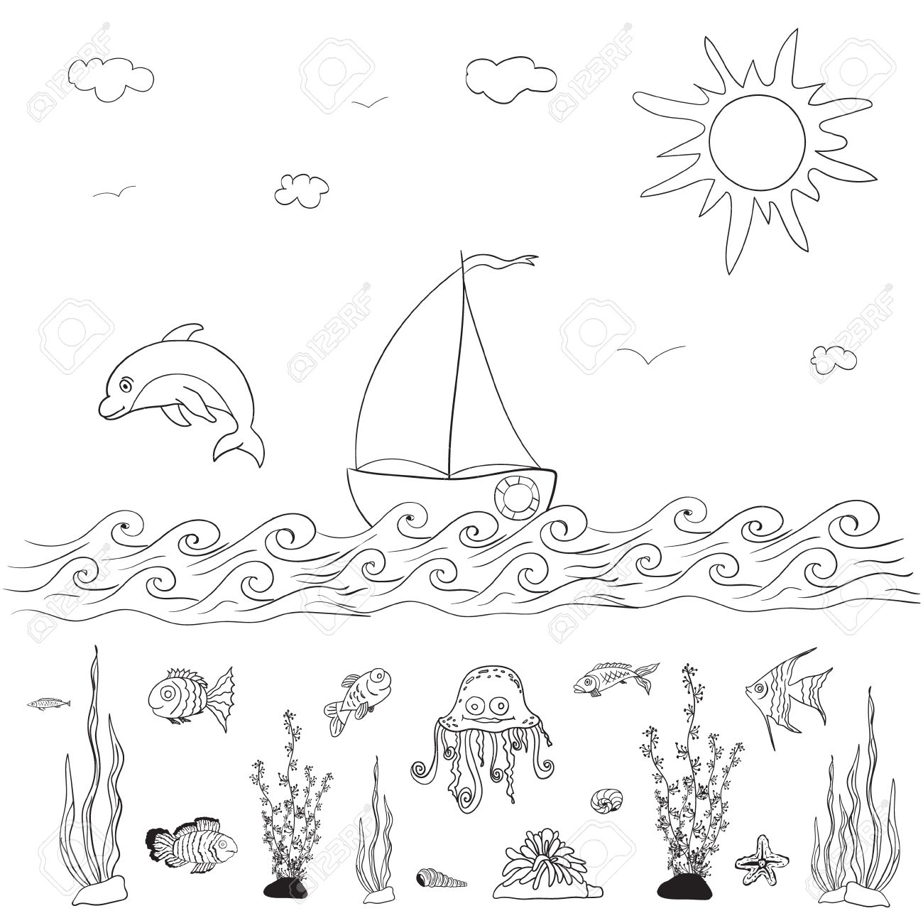 sea and fishes coloring pages for kids royalty free cliparts
