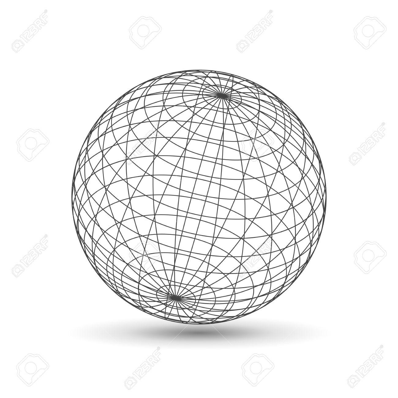 Wireframe globe icon 3d version design template vector stock photo