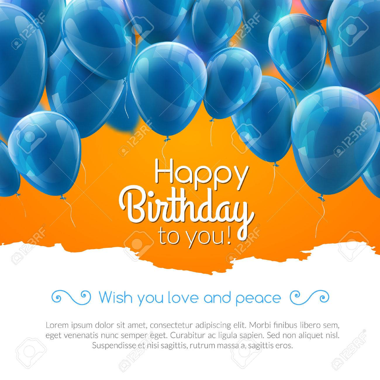 Vector Happy Birthday Card With Blue Balloons Party Invitation Royalty Free Cliparts Vectors And Stock Illustration Image 58052002