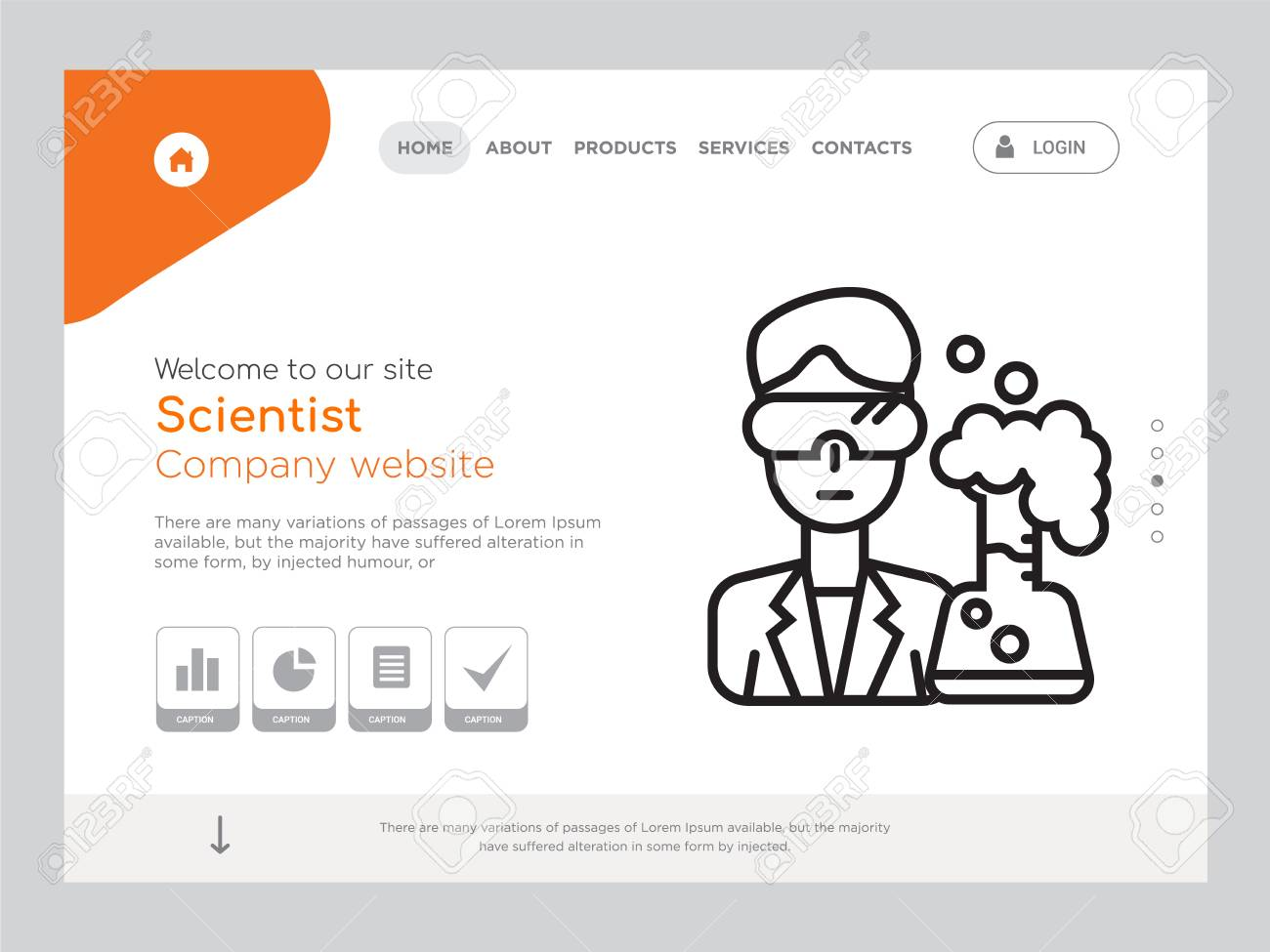 Quality One Page Scientist Website Template Vector Eps Modern
