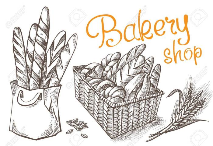 Fresh Bakery Vector Hand Drawn Set Illustration In Graphic Style