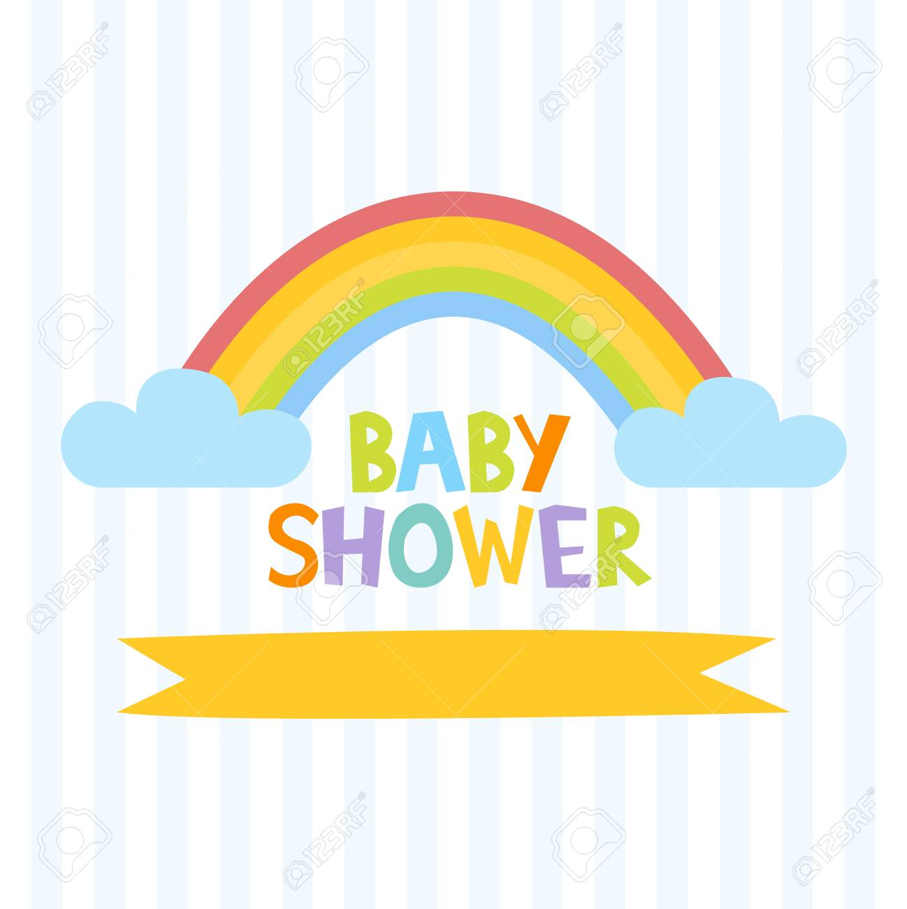 Cute Baby Shower Invitation Template With Letters And Rainbow