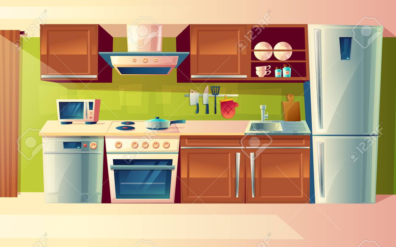 cartoon cooking room interior kitchen counter with appliances