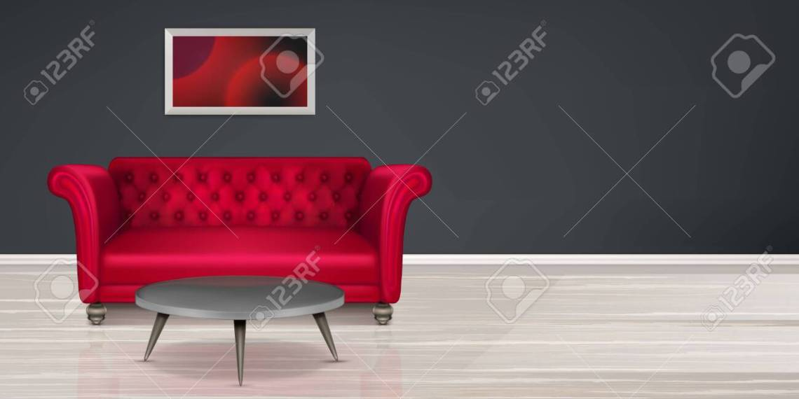 Room With Red Couch Empty Interior With Buttoned Leather Sofa Coffee Table And Painting Black Wall And Light Wood Floor Classic Design Furniture In Modern Dwelling Realistic 3d Vector Illustration Royalty Free