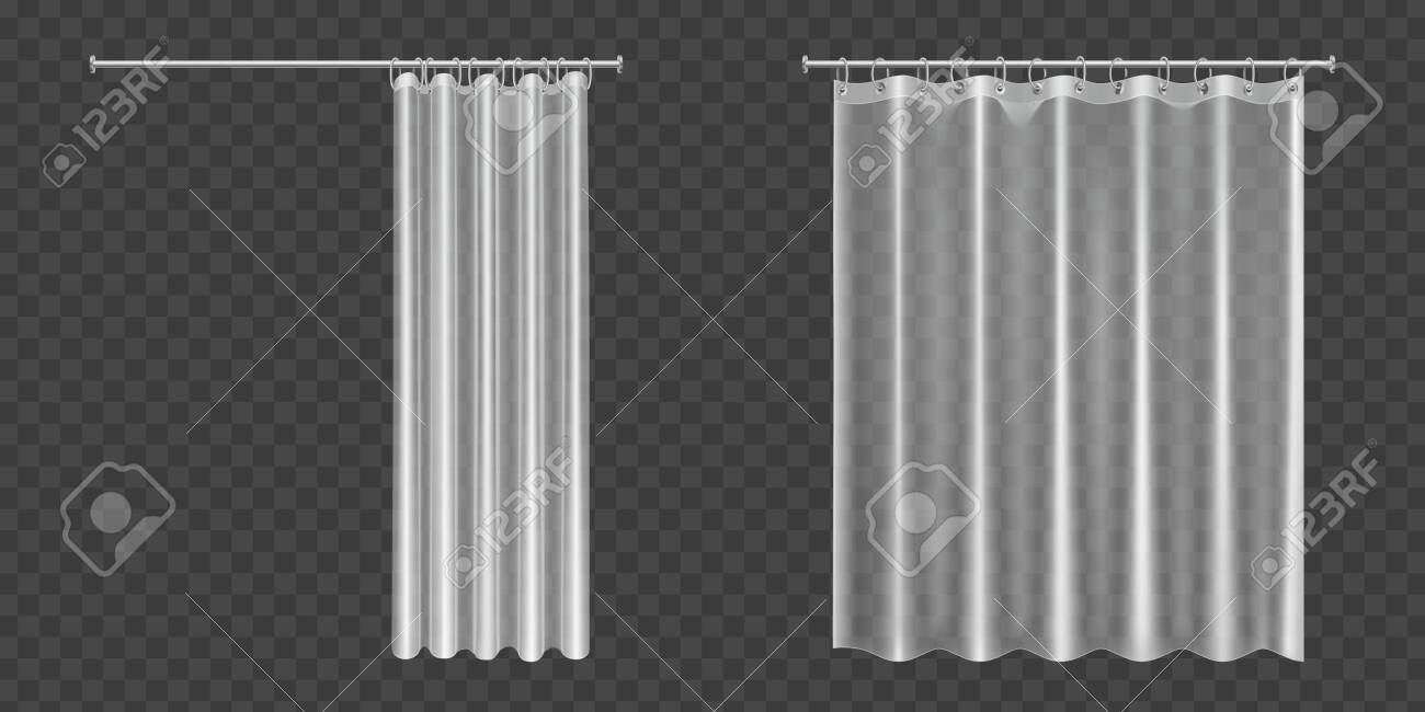 white clear shower curtains isolated on transparent background