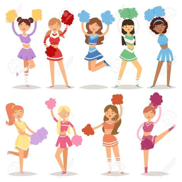 Cartoon Cheerleaders Sport Fan Dancing Girls Cheerleading Woman Team Uniform Characters Vector Illustration Happy Pompon