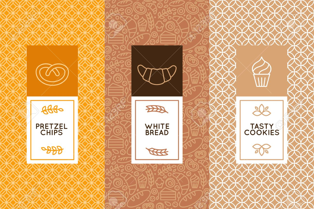 Vector Set Of Design Templates And Elements For Bakery Packaging
