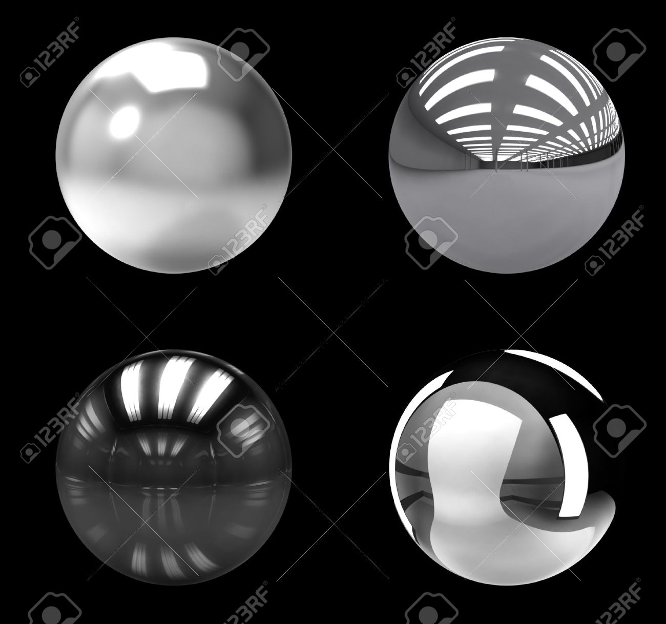 chrome balls group on black background stock photo, picture and