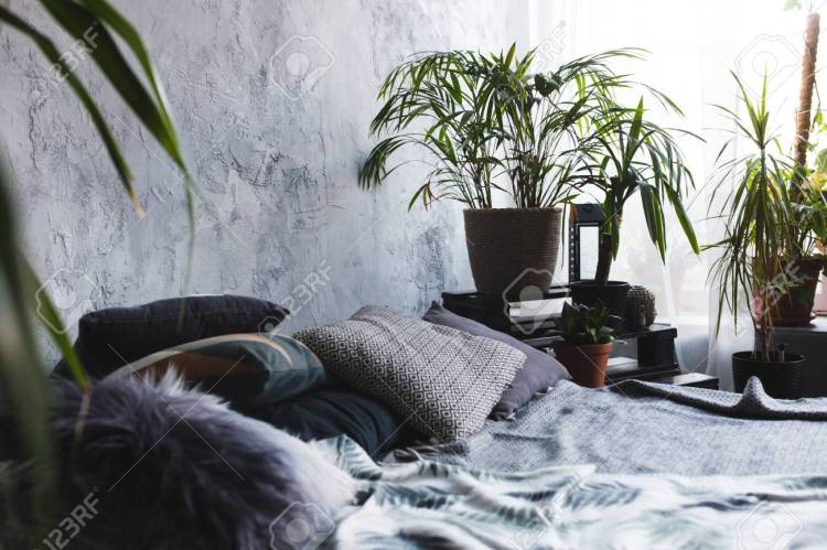 Loft Style Bedroom Design With Green Colors Stock Photo Picture And Royalty Free Image Image 113572629
