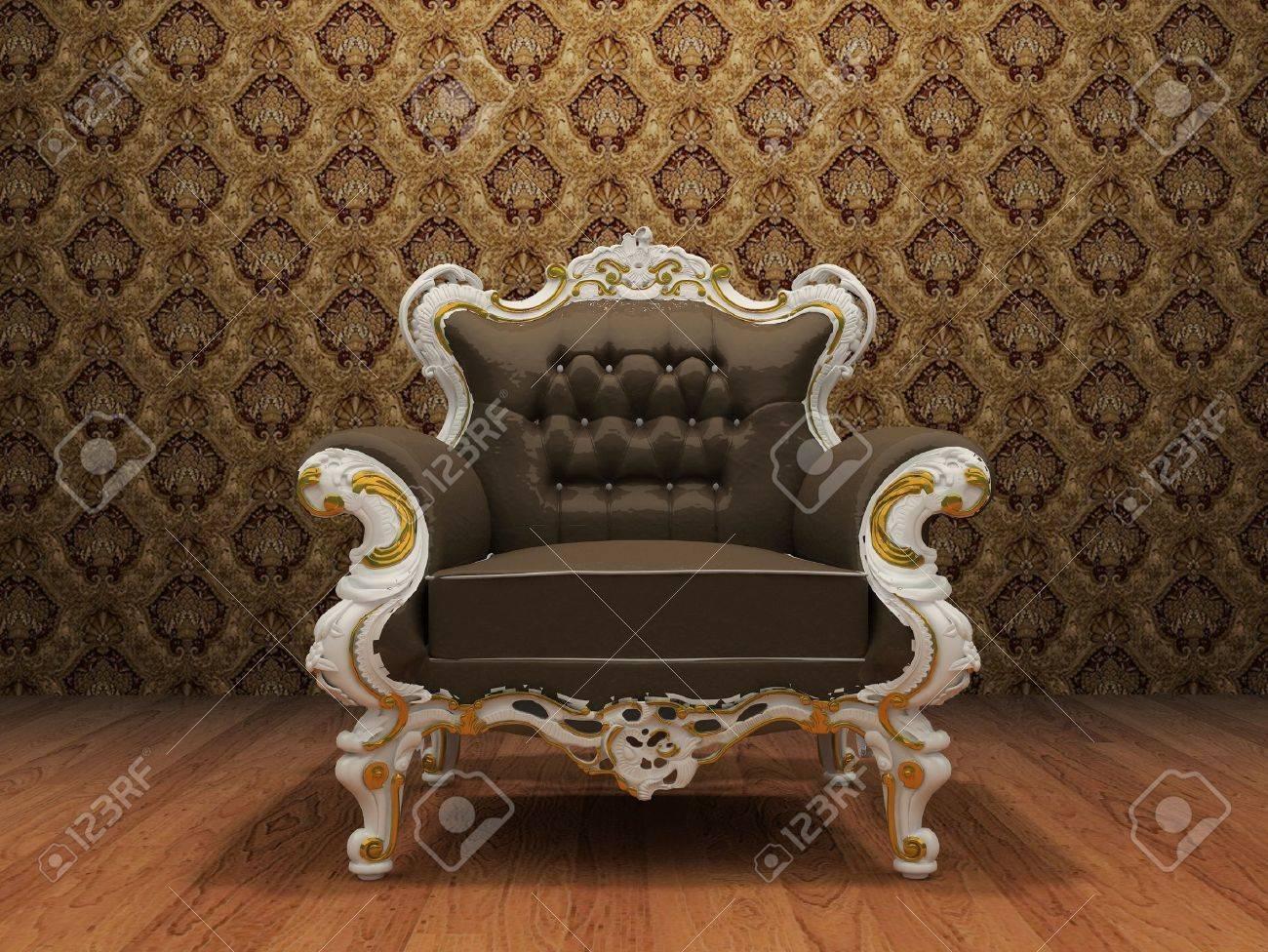 fauteuil en cuir de luxe a l interieur de style ancien avec du papier peint d ornement