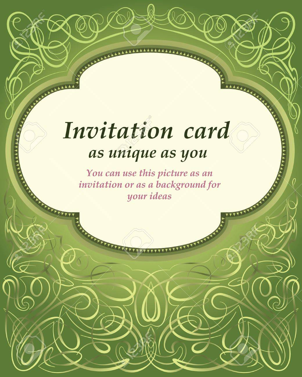 template invitation card with ornaments on green background