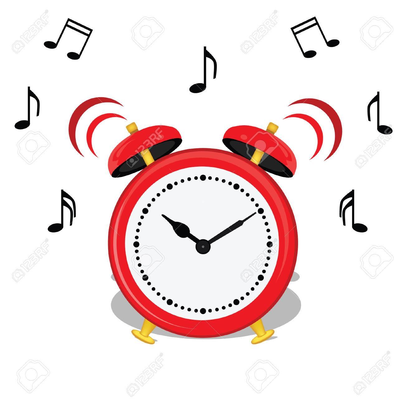 banque d images vector illustration de l alarme de bande dessinee horloge et notes de musique symboles rouge classique icone du reveil debout
