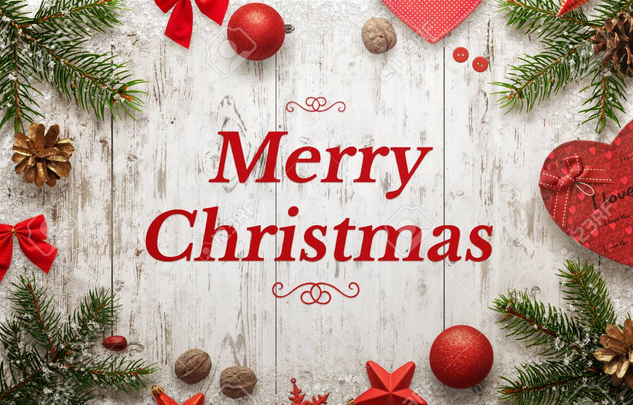 Merry Christmas Greeting Card With Text And Christmas Decorations